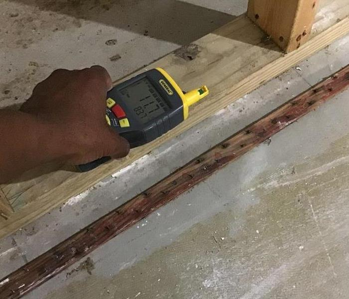 SERVPRO technician using a moisture detector to determine dryness