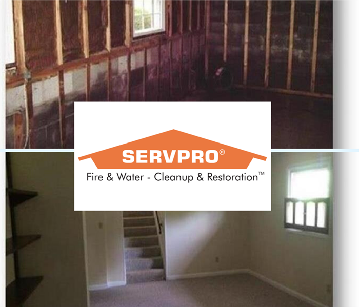 Damaged Basement Due to Storm Water Before and After