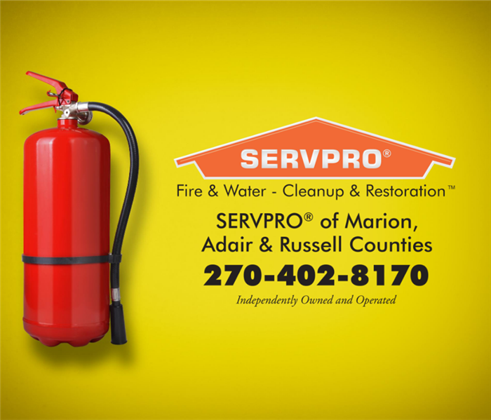 Yellow background with a red fire extinguisher on on side, and the SERVPRO logo on the other with phone and counties listed.