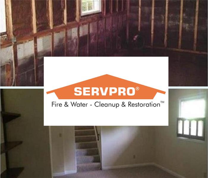 Split screen image of a storm damaged basement before and after mitigation